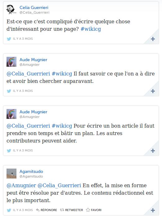Extrait des échanges sur Twitter entre les élèves et des Wikipédiens