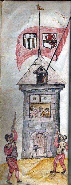 Arquebusiers s'entraînant au tir au papegaut sur la tour du Chêne (XVIe siècle), Rennes.