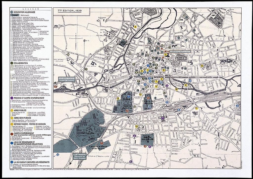 Plan de Rennes sous la 2nd Guerre Mondiale - Musée de Bretagne, CC BY-SA