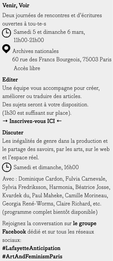 Informations pratiques pour l'edit-a-thon des 5 et 6 mars aux Archives nationales. Suivre le lien pour s'inscrire.