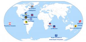 Carte des territoires français d'Outre-mers