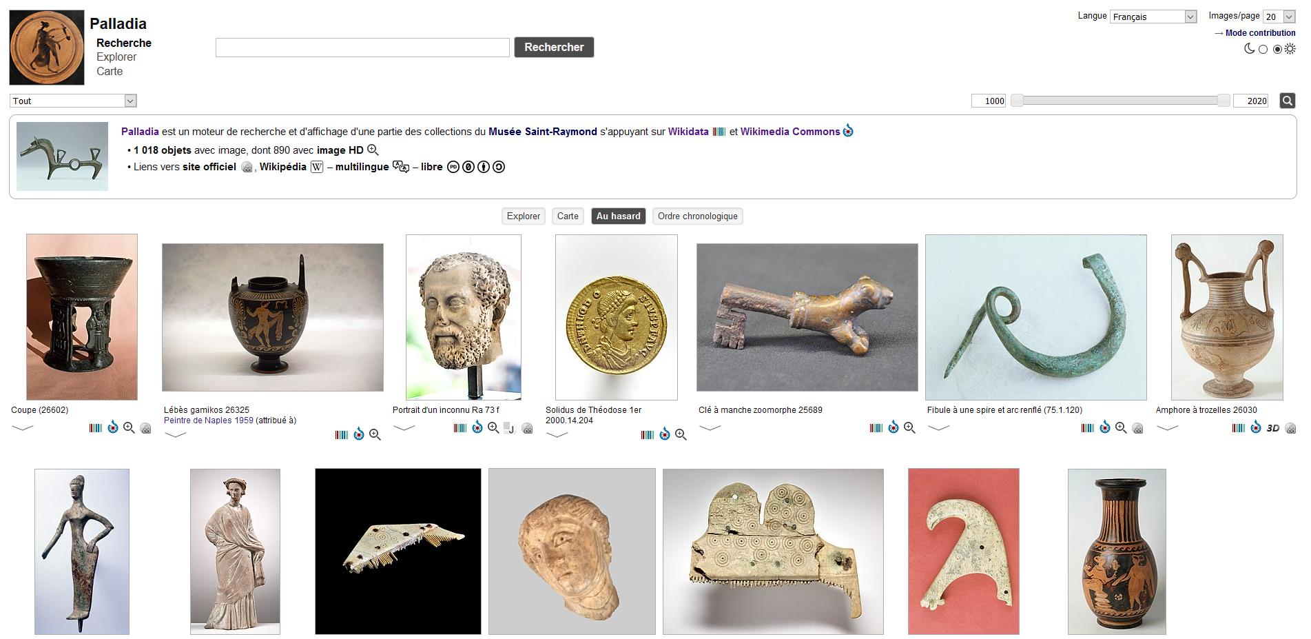 Palladia est un moteur de recherche et d'affichage d'une partie des collections du Musée Saint-Raymond s'appuyant sur Wikidata et Wikimedia Commons