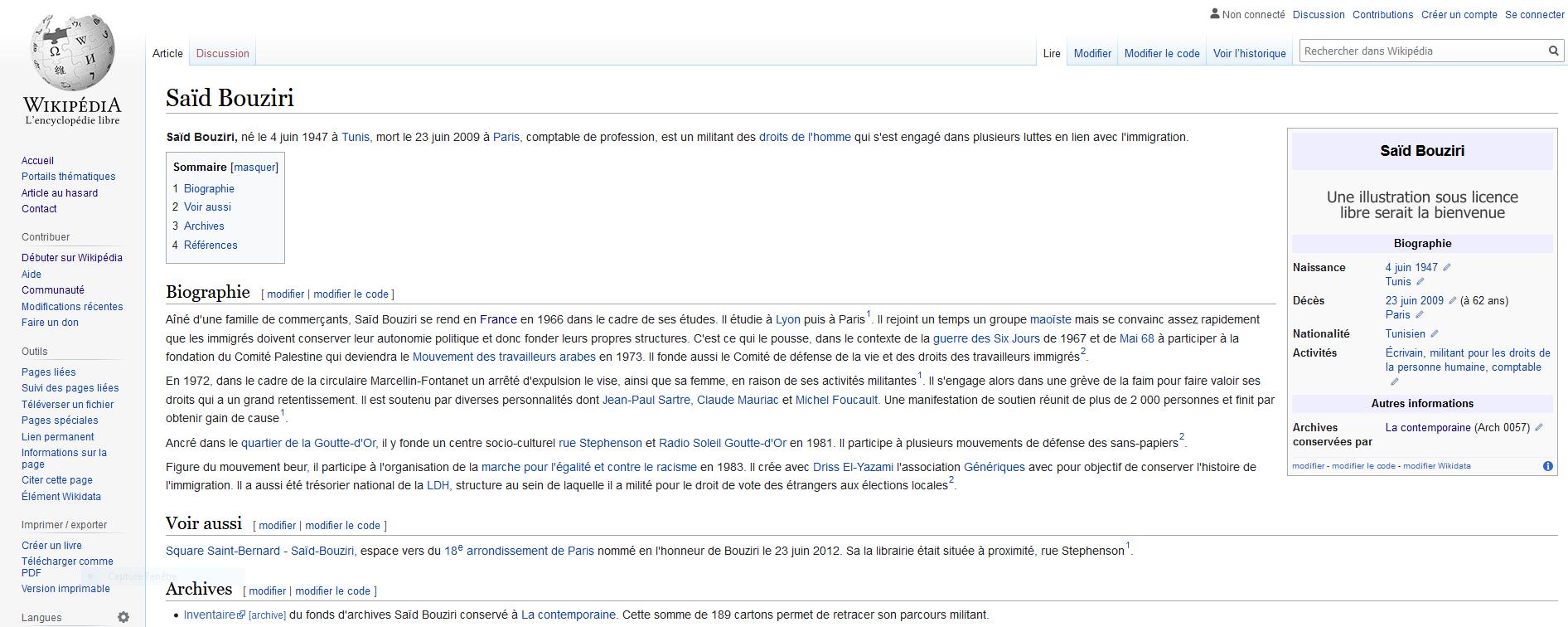 Capture article Wikipédia de Saïd Bouziri